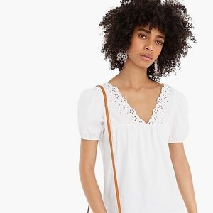 J.Crew eyelet top with puff sleeves, NWT